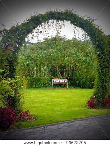 A wooden bench in the middle of a beautiful gardened park, surrounded by trees and grass, on a cloudy overcast day. Outskirts of Quito, Pichincha, Ecuador