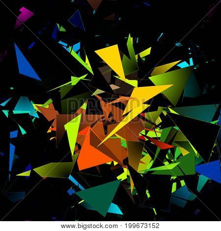 Abstract painting. Colorful triangles.    3D rendering