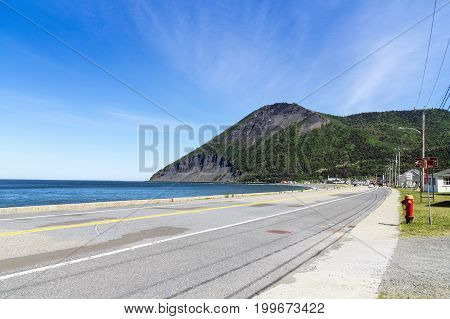 Mont-Saint-Pierre Canada-10 August 2017 : Mont-Saint-Pierre is a village municipality in Quebec Canada located in the regional county municipality of La Haute-Gaspésie in the administrative region of Gaspésie-Îles-de-la-Madeleine.
