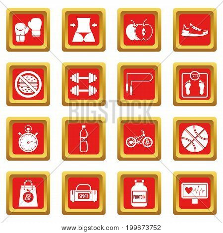 Healthy life icons set in red color isolated vector illustration for web and any design