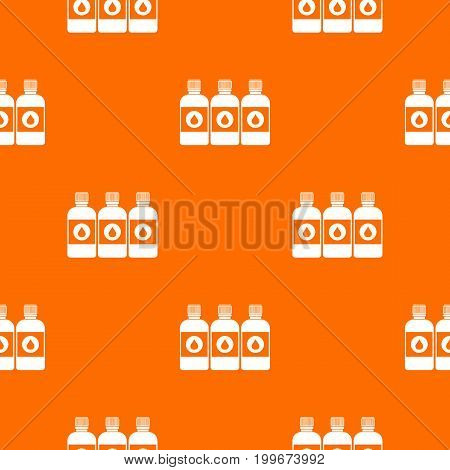 Printer ink bottles pattern repeat seamless in orange color for any design. Vector geometric illustration
