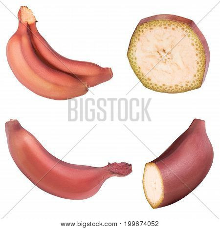 Red banana isolated on white background with clipping path