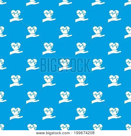 Hand holding heart with ecg line pattern repeat seamless in blue color for any design. Vector geometric illustration