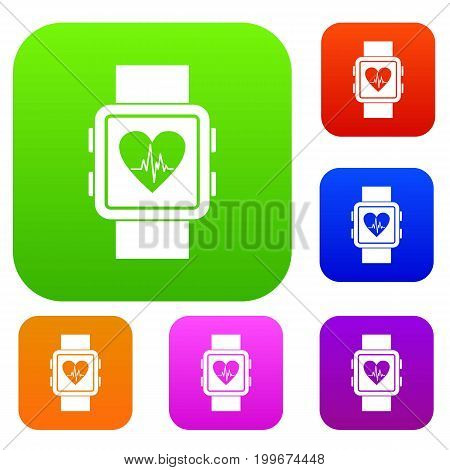 Smartwatch set icon in different colors isolated vector illustration. Premium collection
