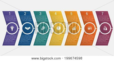 Horizontal numbered color arrows with text template infographic for eight positions