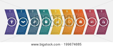 Horizontal numbered color arrows with text template infographic for nine positions