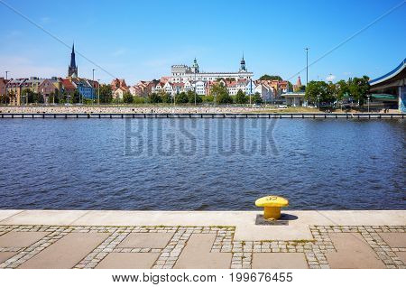 Szczecin waterfront with visible cathedral and Pomeranian Dukes Castle Poland.