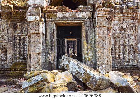 Ancient Temple Stone Wall And Entrance Ruins, Angkor Wat