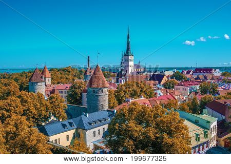 Tallinn, Estonia: aerial top view of the old town in the autumn