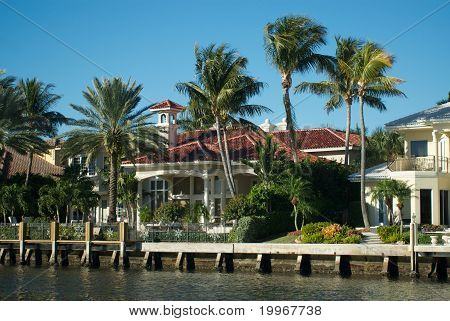 Florida home on the intercoastal waterway Boca Raton Florida. poster
