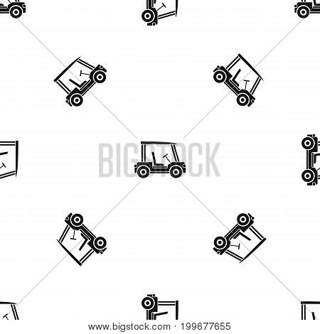 Golf club vehicle pattern repeat seamless in black color for any design. Vector geometric illustration