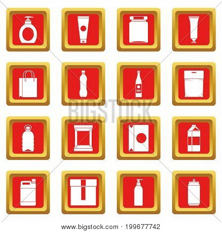 Packaging items icons set in red color isolated vector illustration for web and any design