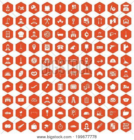 100 working professions icons set in orange hexagon isolated vector illustration