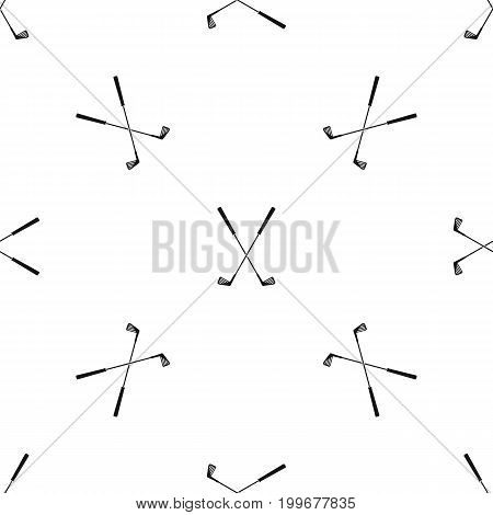 Two golf clubs pattern repeat seamless in black color for any design. Vector geometric illustration