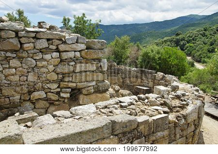 Stagira, Antique colony of the 7th century BC. Ruined in the fourth century BC, then rebuilt at the request of Aristotle. Aristotle's birthplace and burial site. Ruins are located near the village resort Olimpiada near the eastern coast of the peninsula o