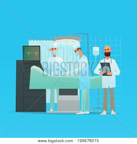 Surgeons perform operation. Team doctors in the operating room with the patient. Vector illustration