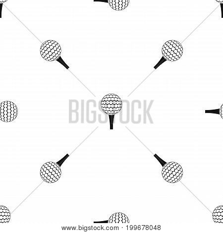 Golf ball on a tee pattern repeat seamless in black color for any design. Vector geometric illustration