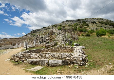 Ruins of the ancient Filippi. The city founded in the fourth century BC by Philip II of Macedon then the Roman colony. With the fall of Byzantium it was completely destroyed and abandoned. St. Paul founded here the first Christian community on the contine