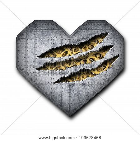 Iron Heart, Ragged Hole In Metal And The Mechanism Isolated, 3D, Illustration