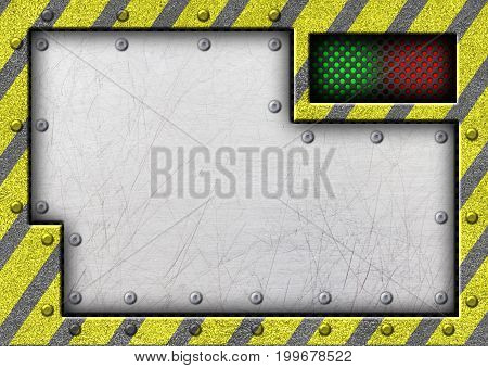 Metal Sliding Door With The Warning Tape, 3D, Illustration