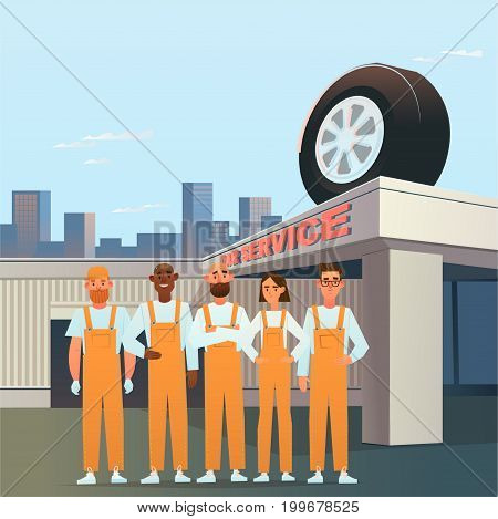 Car service. BodyShop. auto mechanics. Vector illustration