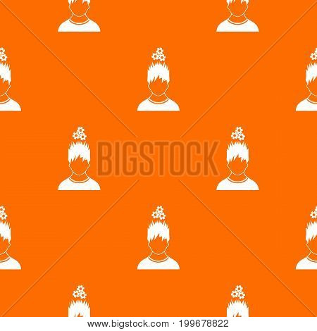Man with metal gears over head pattern repeat seamless in orange color for any design. Vector geometric illustration