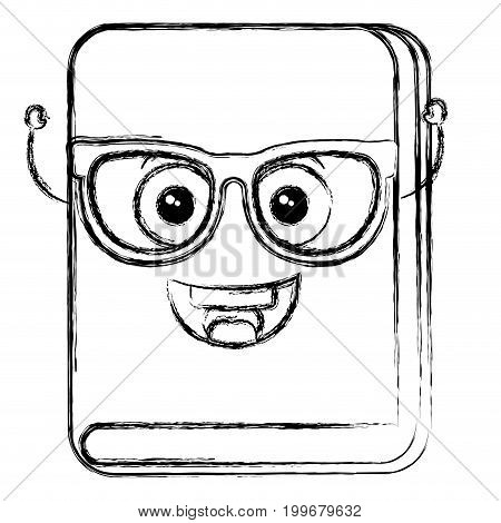 text book with glasses kawaii character vector illustration design