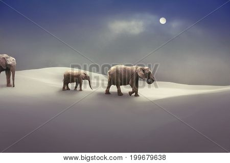 A family of elephants are migrating during the Ice Age, an artistic view