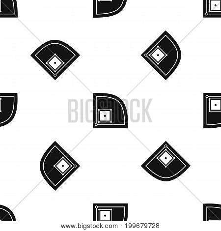 Baseball field pattern repeat seamless in black color for any design. Vector geometric illustration