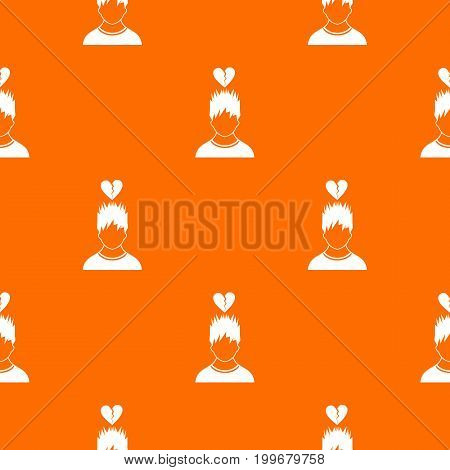 Man with broken red heart over head pattern repeat seamless in orange color for any design. Vector geometric illustration