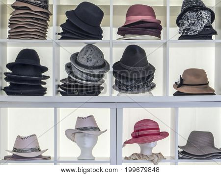 a picture showing lots of various hats
