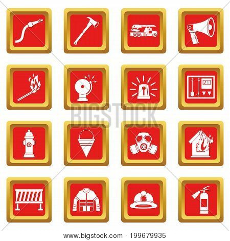 Fireman tools icons set in red color isolated vector illustration for web and any design