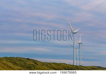 Wind turbines in natural environment provide a sustainable source of electricity. Energy conservation concept in natural coastal landscape.