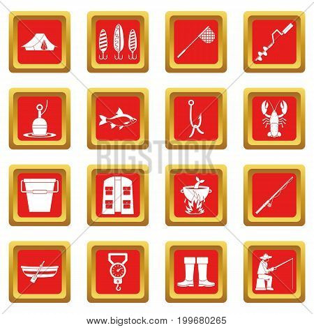 Fire fighting icons set in red color isolated vector illustration for web and any design