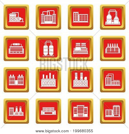 Industrial building factory icons set in red color isolated vector illustration for web and any design