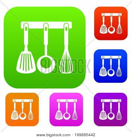 Spatula, ladle and whisk, kitchen tools on a hanger set icon in different colors isolated vector illustration. Premium collection
