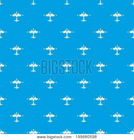 Military fighter aircraft pattern repeat seamless in blue color for any design. Vector geometric illustration