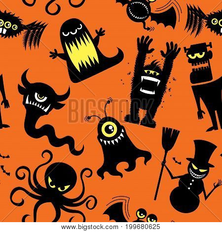 Seamless pattern with silhouettes of cartoon monsters.
