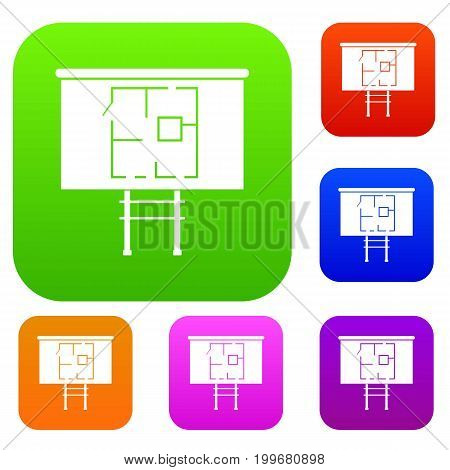 Project of house on a board set icon in different colors isolated vector illustration. Premium collection