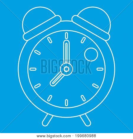 Retro alarm clock icon blue outline style isolated vector illustration. Thin line sign