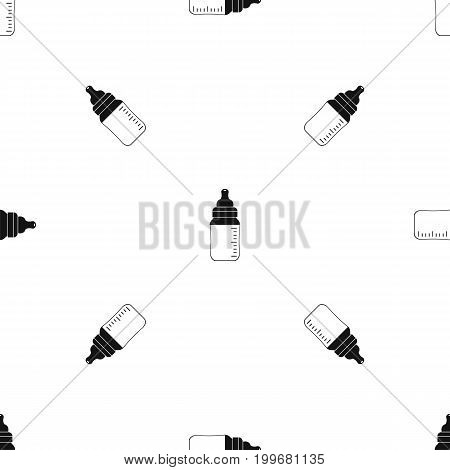 Baby milk bottle pattern repeat seamless in black color for any design. Vector geometric illustration