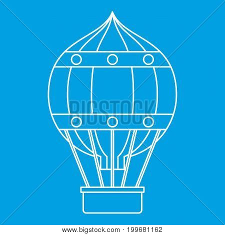 Hot air balloon with gondola basket icon blue outline style isolated vector illustration. Thin line sign