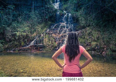 Beautiful Girl At Waterfall. Beautiful Waterfall In The Forest. Natural Water Spring Waterfall.