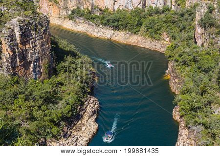 Canyon With A River On The Bottom And Rocky Walls Covered By Green Trees. Furnas Canyon Is A Common