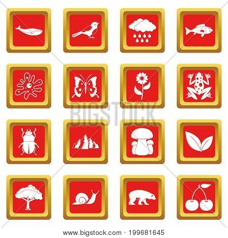 Oil industry items icons set in red color isolated vector illustration for web and any design