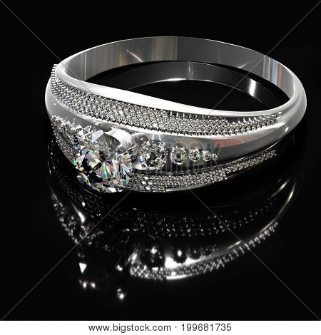 Silver band for engagement with diamond gem. Luxury jewellery bijouterie ring from white gold or platinum with gemstone. Ring is on surface with reflection. 3D rendering on black background. Family