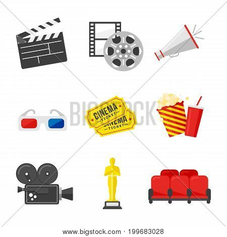 Movie icon set. Colorful icons on the cinema theme in flat style. Vector Illustration.