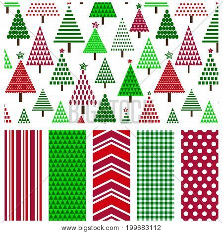 Seamless geometric Christmas tree pattern with coordinating stripe, triangle, chevron, gingham and polka dot prints.