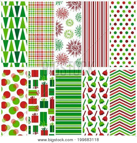 10 seamless holiday patterns. File includes triangle, plaid, snowflake, polka dot, gift, bell, stripe and chevron prints.