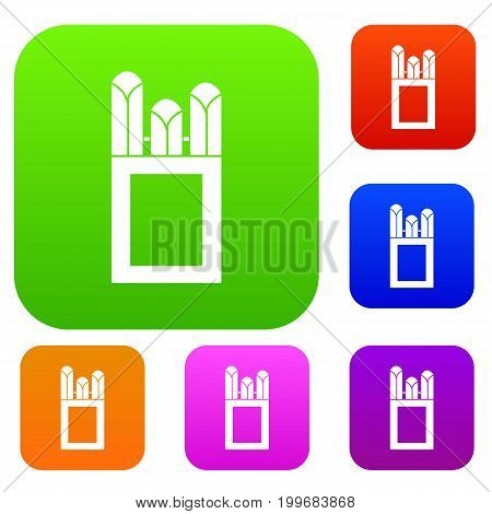 Chalks in carton box set icon in different colors isolated vector illustration. Premium collection